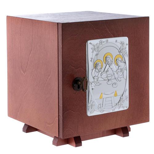 Tabernakulum z drewna i płytka z aluminium Ostatania Wieczerza 20x20 cm 3