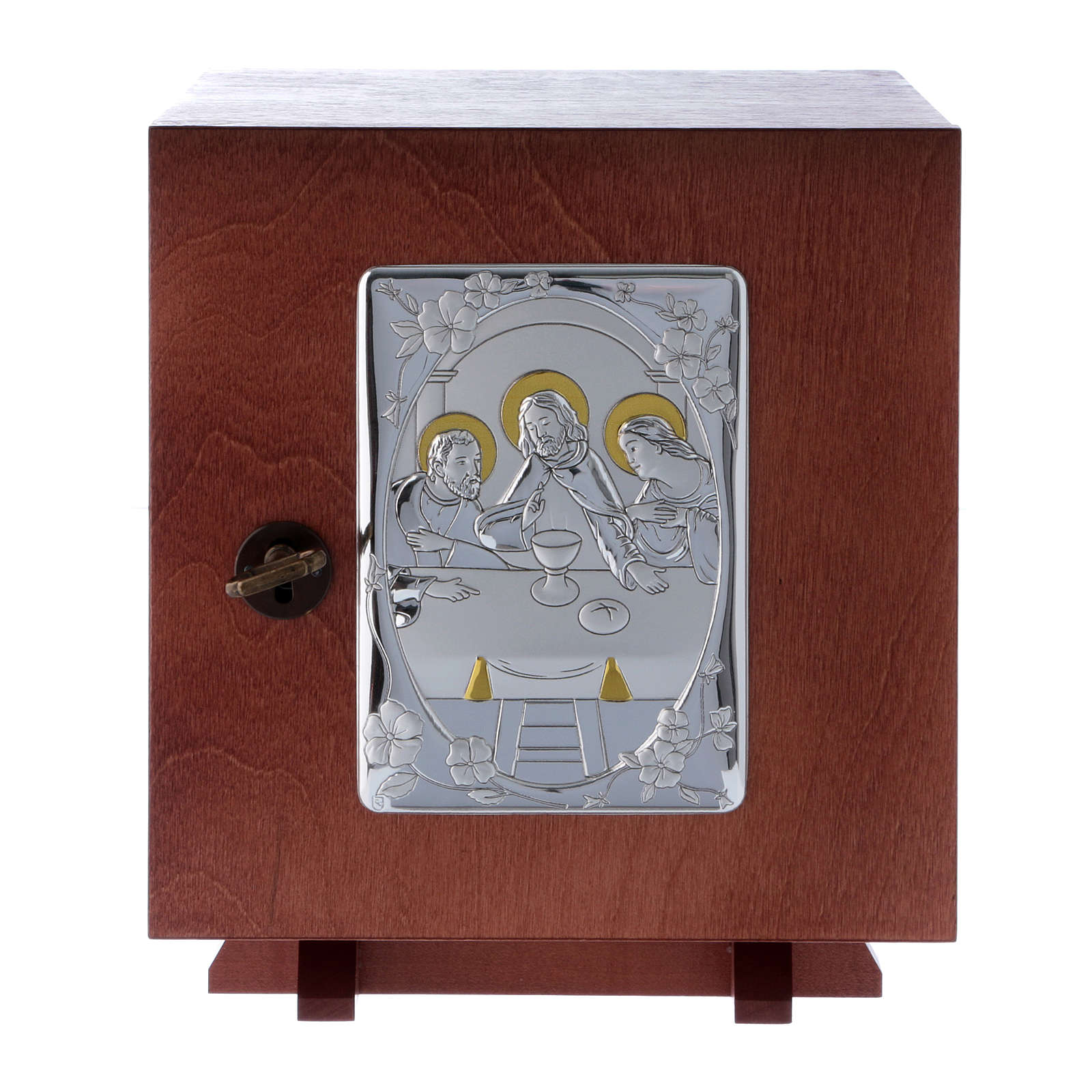 Tabernacle in wood with aluminium plate The Last Supper 20X20 cm 4