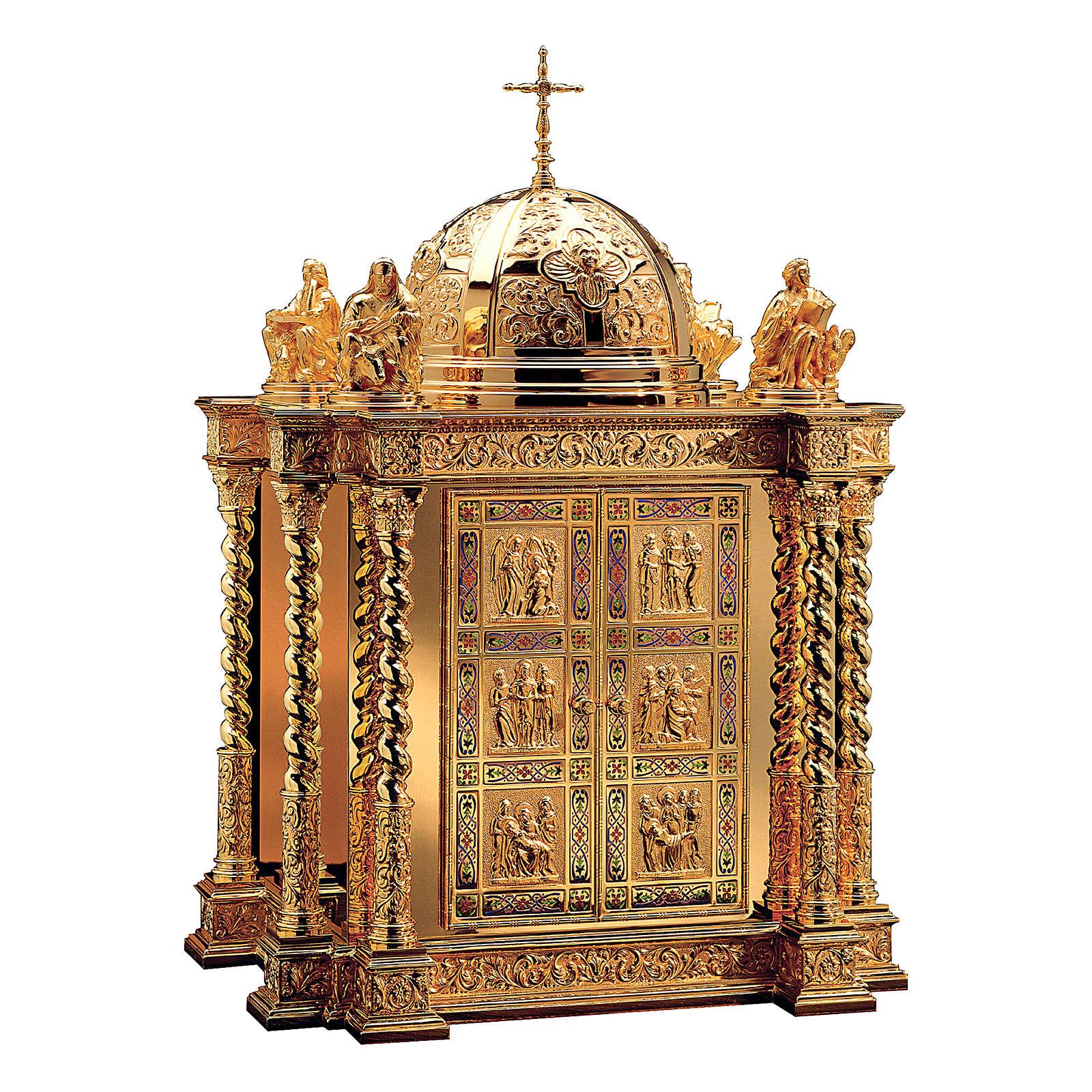 Tabernacolo Molina stile Barocco scene vita Cristo e Evangelisti ottone dorato 85x60x42 cm 4