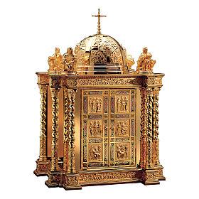 Tabernacolo Molina stile Barocco scene vita Cristo e Evangelisti ottone dorato 85x60x42 cm s1