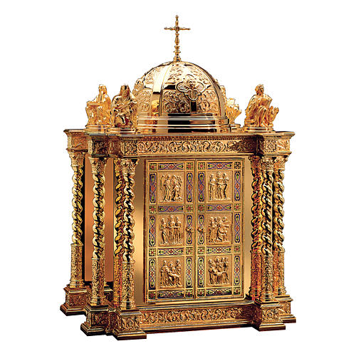 Tabernacolo Molina stile Barocco scene vita Cristo e Evangelisti ottone dorato 85x60x42 cm 1