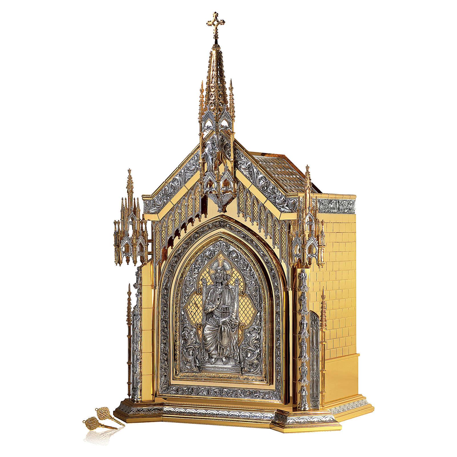 Tabernacolo Molina stile Gotico Creatore e Apostoli ottone bicolore e rame 94x56x43 cm 4