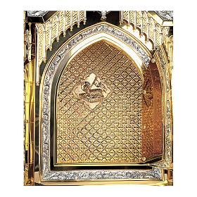 Tabernacolo Molina stile Gotico Creatore e Apostoli ottone bicolore e rame 94x56x43 cm s2