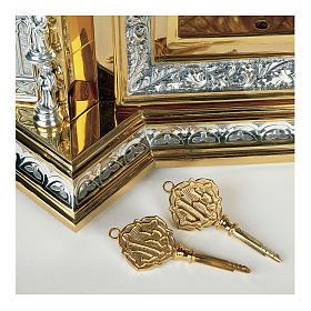 Tabernacolo Molina stile Gotico Creatore e Apostoli ottone bicolore e rame 94x56x43 cm s3