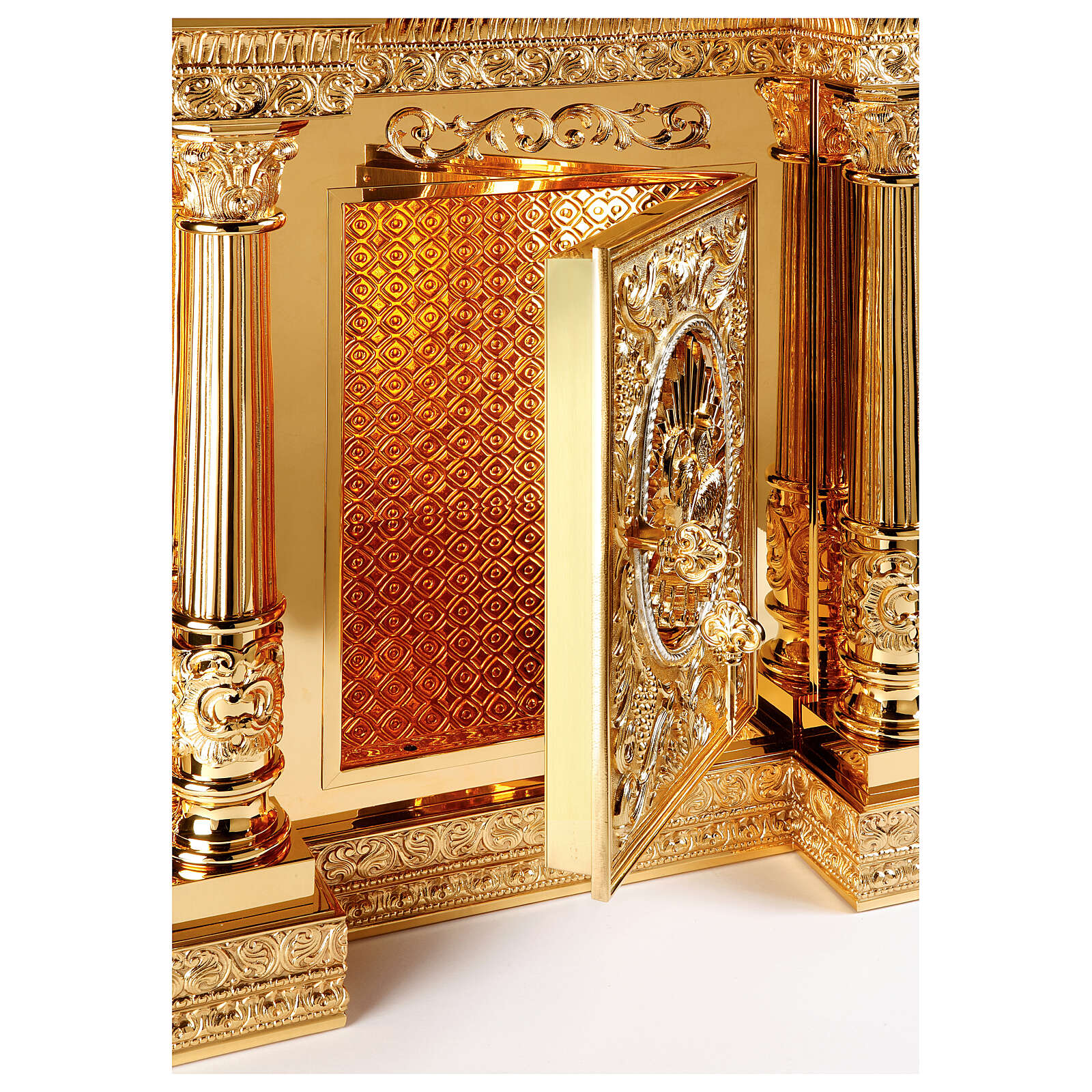 Baroque Molina tabernacle Four Evangelists gold plated brass 50x30x25 in 4
