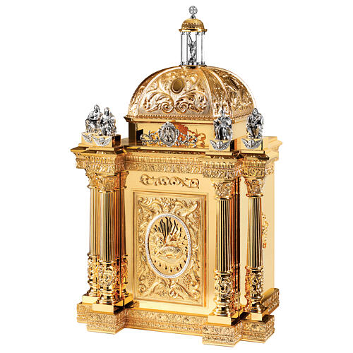 Baroque Molina tabernacle Four Evangelists gold plated brass 50x30x25 in 1