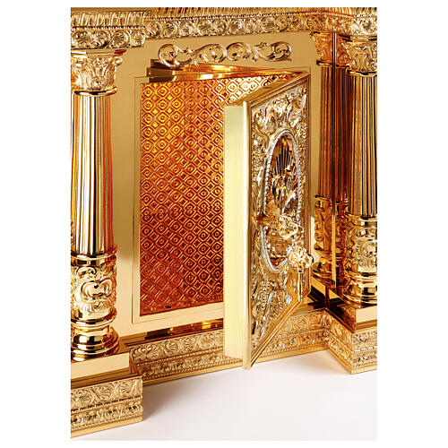 Baroque Molina tabernacle Four Evangelists gold plated brass 50x30x25 in 3