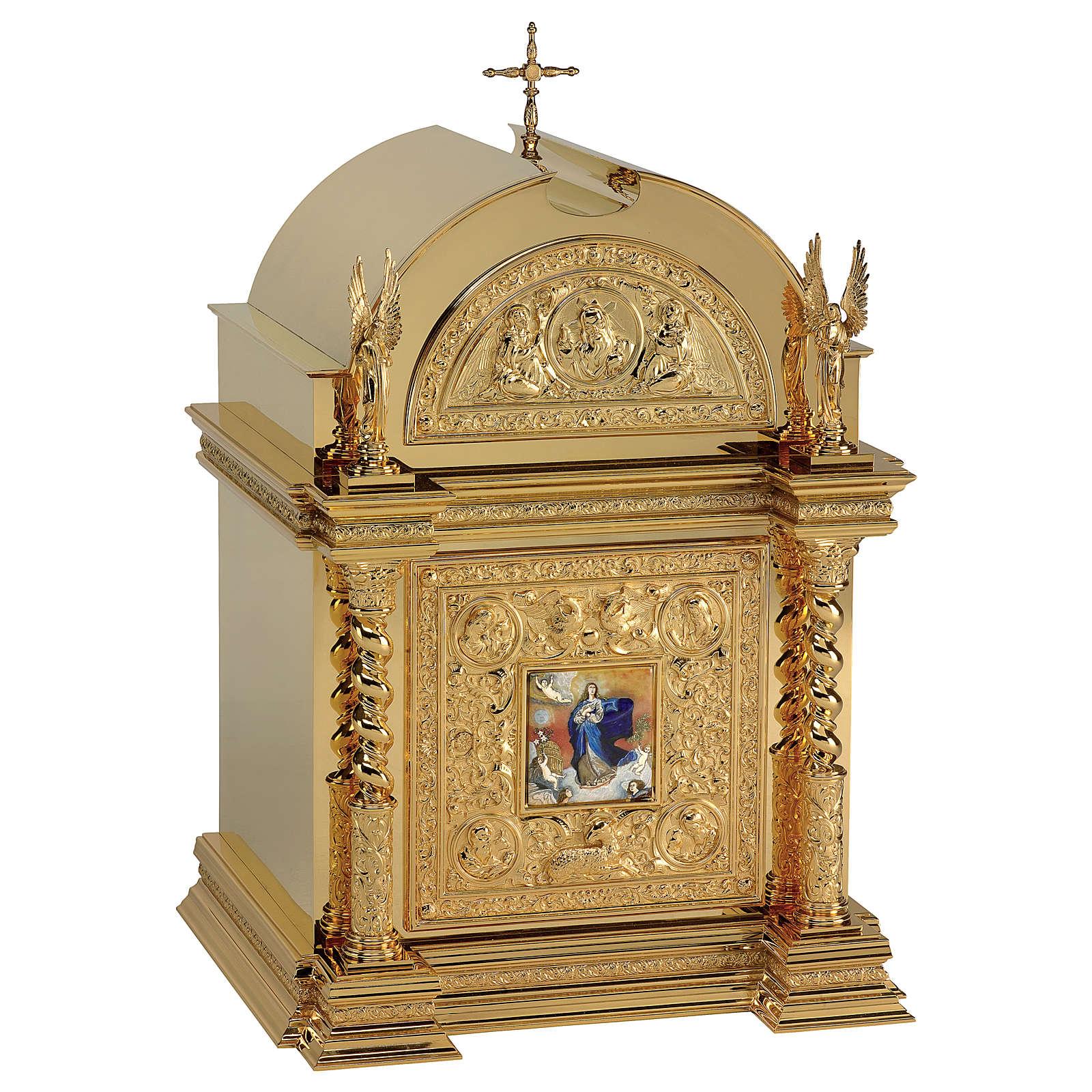 Tabernacolo Molina stile Rinascimentale Immacolata Concezione ottone dorato 76x51x56 cm 4