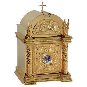 Tabernacolo Molina stile Rinascimentale Immacolata Concezione ottone dorato 76x51x56 cm s1