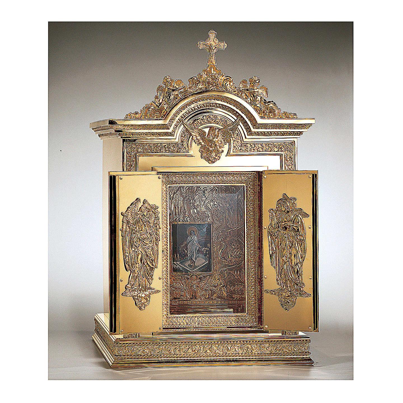 Tabernacolo Molina Resurrezione e Ascensione ottone dorato 86,5x53x54 cm 4