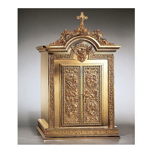 Tabernacolo Molina Resurrezione e Ascensione ottone dorato 86,5x53x54 cm 1
