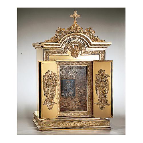 Tabernacolo Molina Resurrezione e Ascensione ottone dorato 86,5x53x54 cm 2