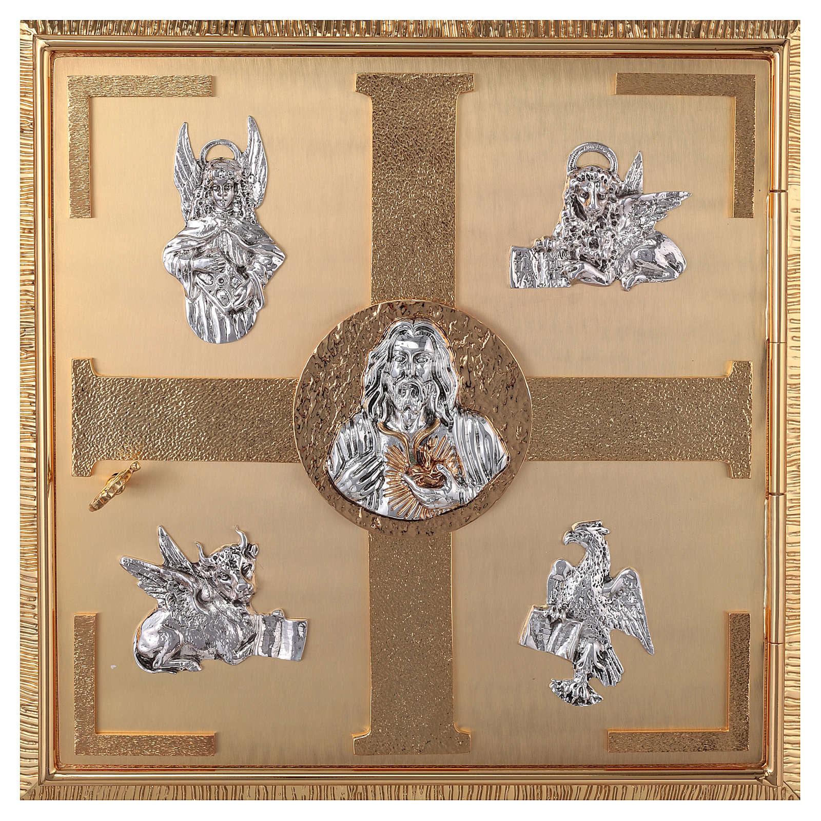 Tabernacolo parete ottone fuso bagno oro 24 k Evangelisti  4