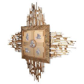 Tabernacolo parete ottone fuso bagno oro 24 k Evangelisti  s3