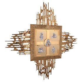 Tabernacolo parete ottone fuso bagno oro 24 k Evangelisti  s6