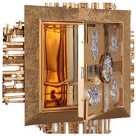 Tabernacolo parete ottone fuso bagno oro 24 k Evangelisti  s8