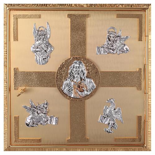 Tabernacolo parete ottone fuso bagno oro 24 k Evangelisti  2