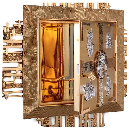 Tabernacolo parete ottone fuso bagno oro 24 k Evangelisti  8