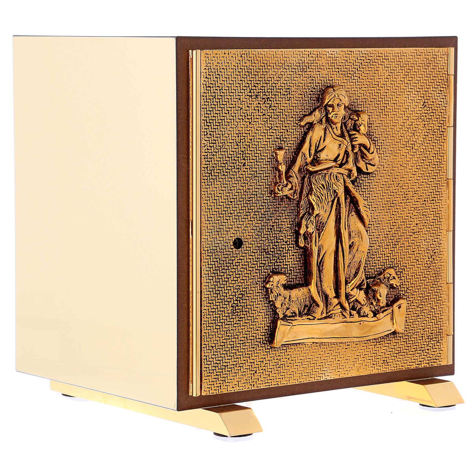 Tabernacolo Buon Pastore legno finitura radica di olmo scocca oro 4