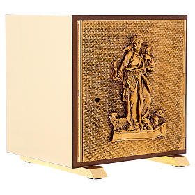 Tabernacolo Buon Pastore legno finitura radica di olmo scocca oro s4