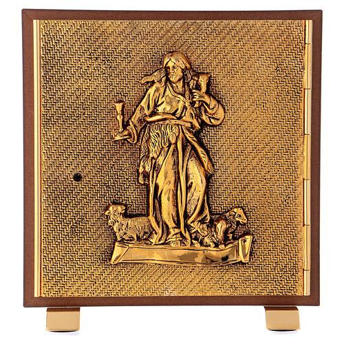 Tabernacolo Buon Pastore legno finitura radica di olmo scocca oro 1