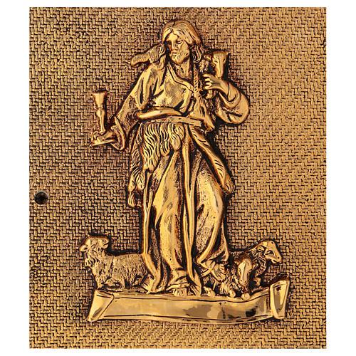 Tabernacolo Buon Pastore legno finitura radica di olmo scocca oro 2