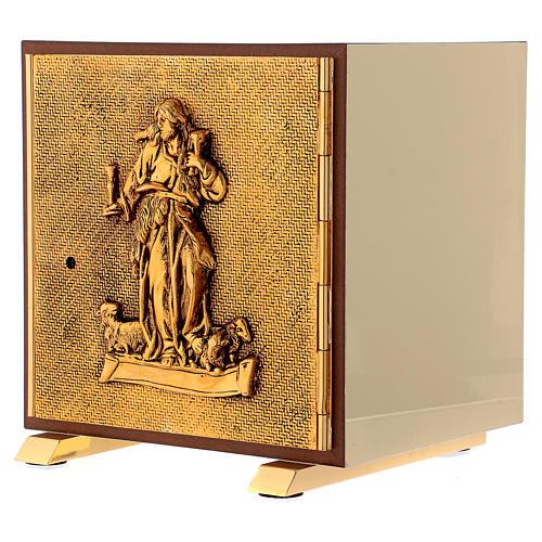 Tabernacolo Buon Pastore legno finitura radica di olmo scocca oro 3