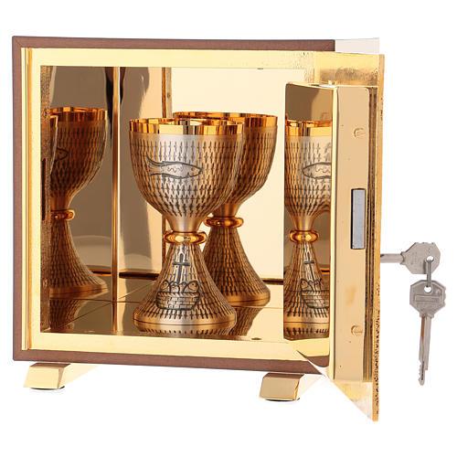 Tabernacolo Buon Pastore legno finitura radica di olmo scocca oro 5