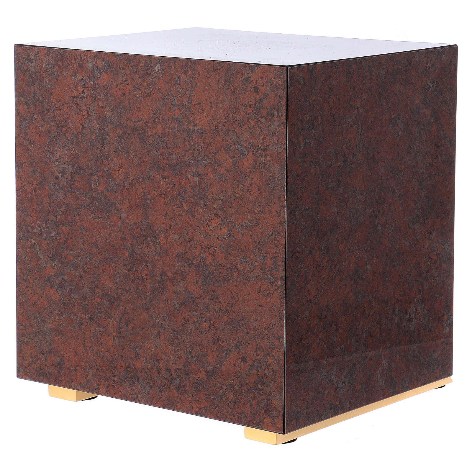 Tabernacolo Cervi alla fonte legno finitura marmo rosso 4