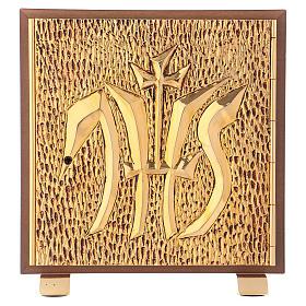 Tabernacolo IHS legno tipo scocca oro s1