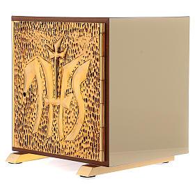 Tabernacolo IHS legno tipo scocca oro s3