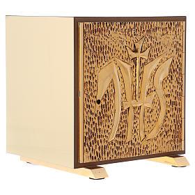 Tabernacolo IHS legno tipo scocca oro s4