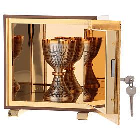 Tabernacolo IHS legno tipo scocca oro s5