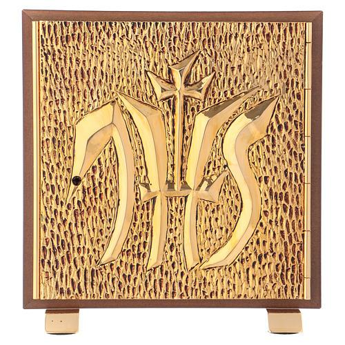 Tabernacolo IHS legno tipo scocca oro 1