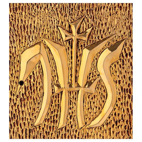 Tabernacolo IHS legno tipo scocca oro 2