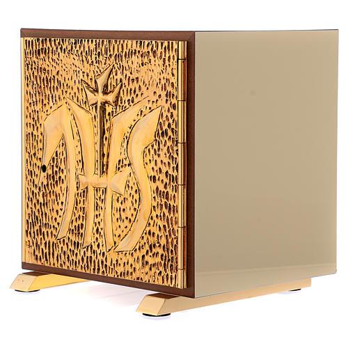 Tabernacolo IHS legno tipo scocca oro 3