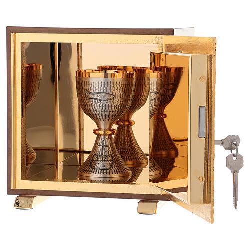 Tabernacolo IHS legno tipo scocca oro 5