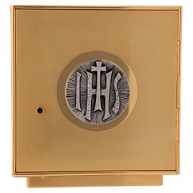 Altar tabernacle of gold plated brass IHS s1