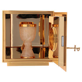 Altar tabernacle of gold plated brass IHS s5