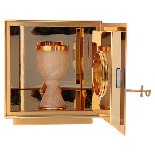 Altar tabernacle of gold plated brass IHS 5