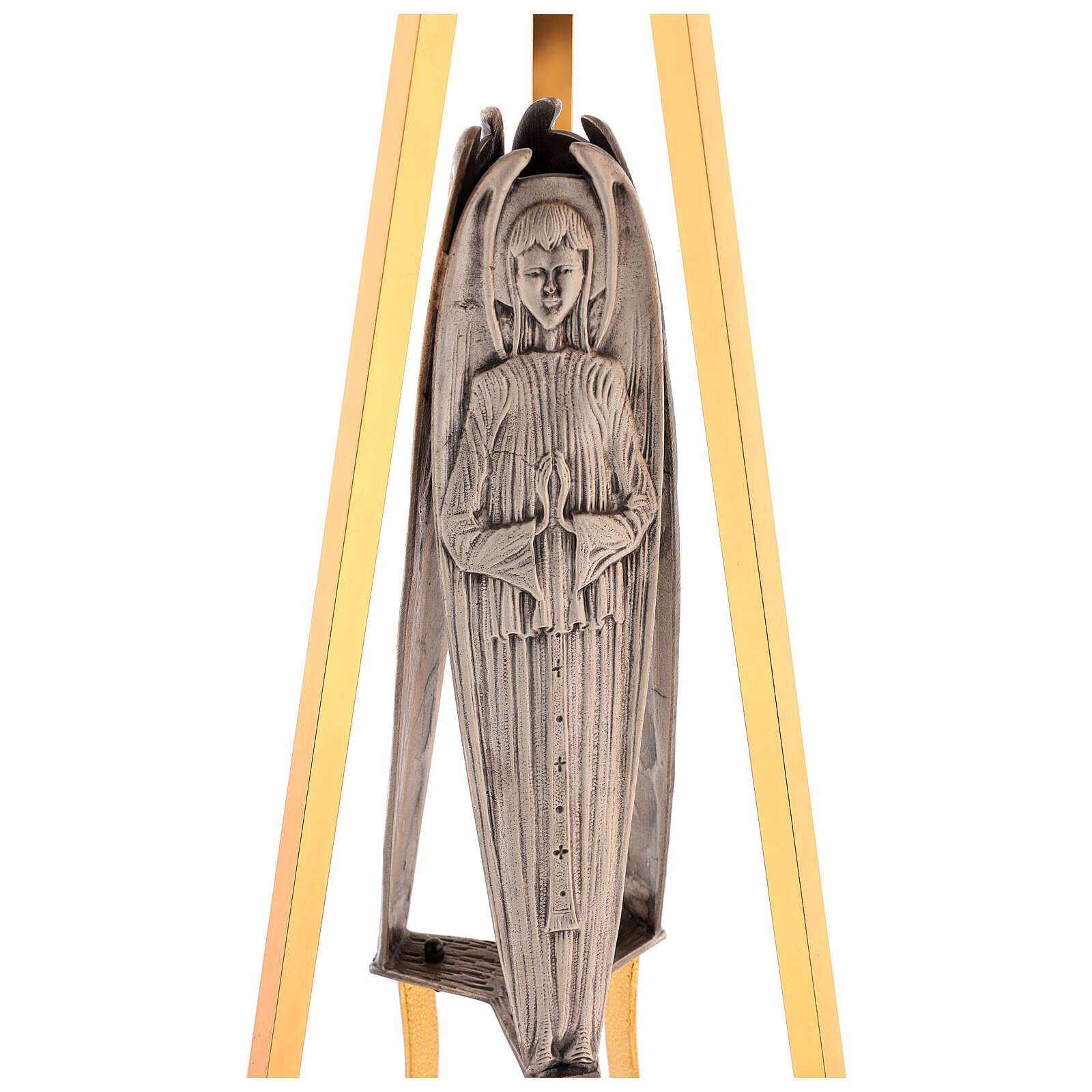 Columna para sagrario latón fundido con ángel h. 130 cm 4