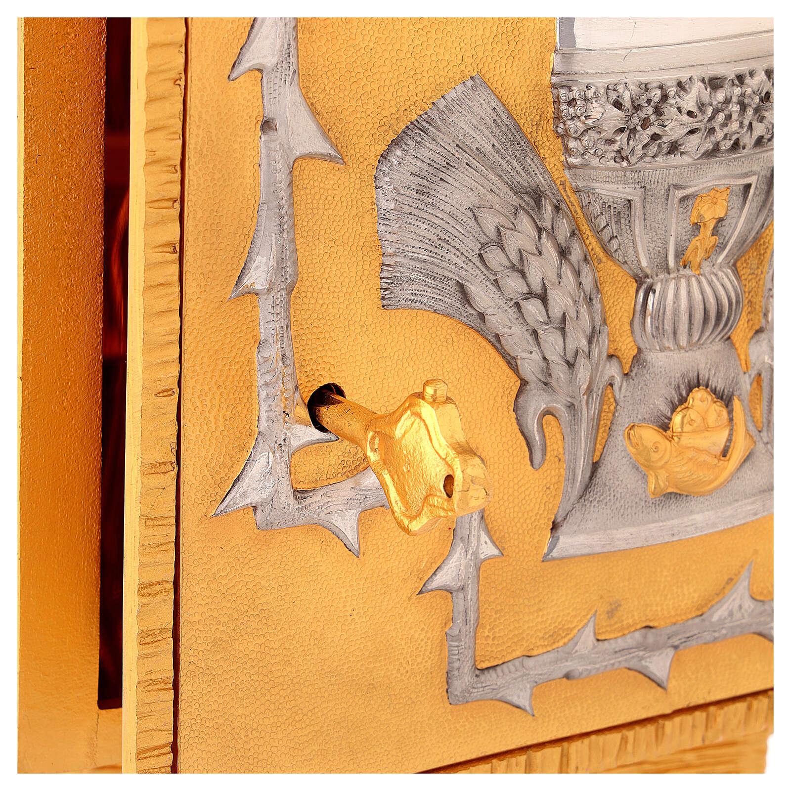 Sagrario de misa de latón fundido decoración dorada IHS 4