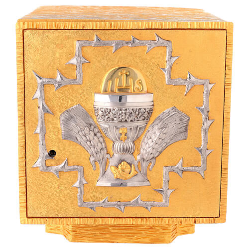 Sagrario de misa de latón fundido decoración dorada IHS 1