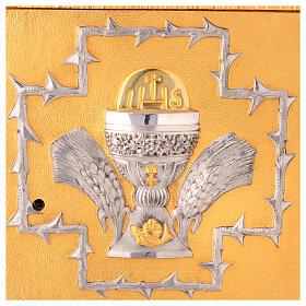Tabernacolo da mensa in ottone fuso decorazione dorata IHS s2