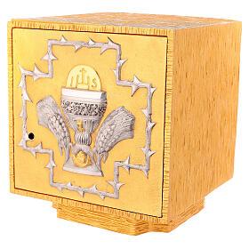 Tabernacolo da mensa in ottone fuso decorazione dorata IHS s3