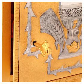 Tabernacolo da mensa in ottone fuso decorazione dorata IHS s4