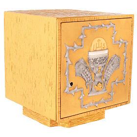 Tabernacolo da mensa in ottone fuso decorazione dorata IHS s5