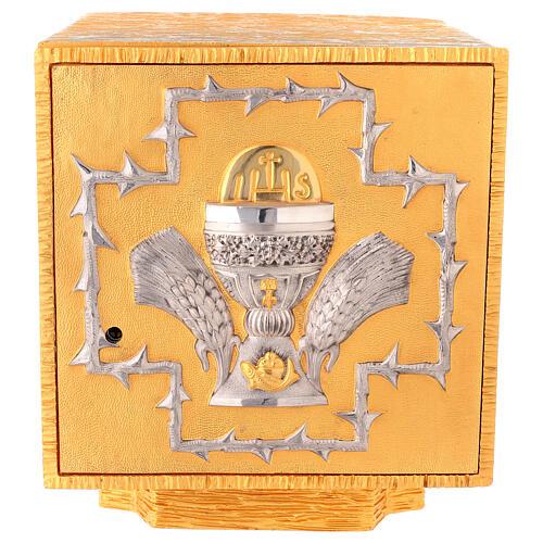 Tabernacolo da mensa in ottone fuso decorazione dorata IHS 1