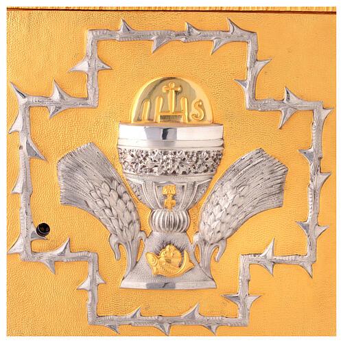 Tabernacolo da mensa in ottone fuso decorazione dorata IHS 2
