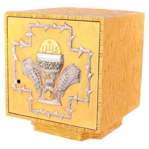 Tabernacolo da mensa in ottone fuso decorazione dorata IHS 3